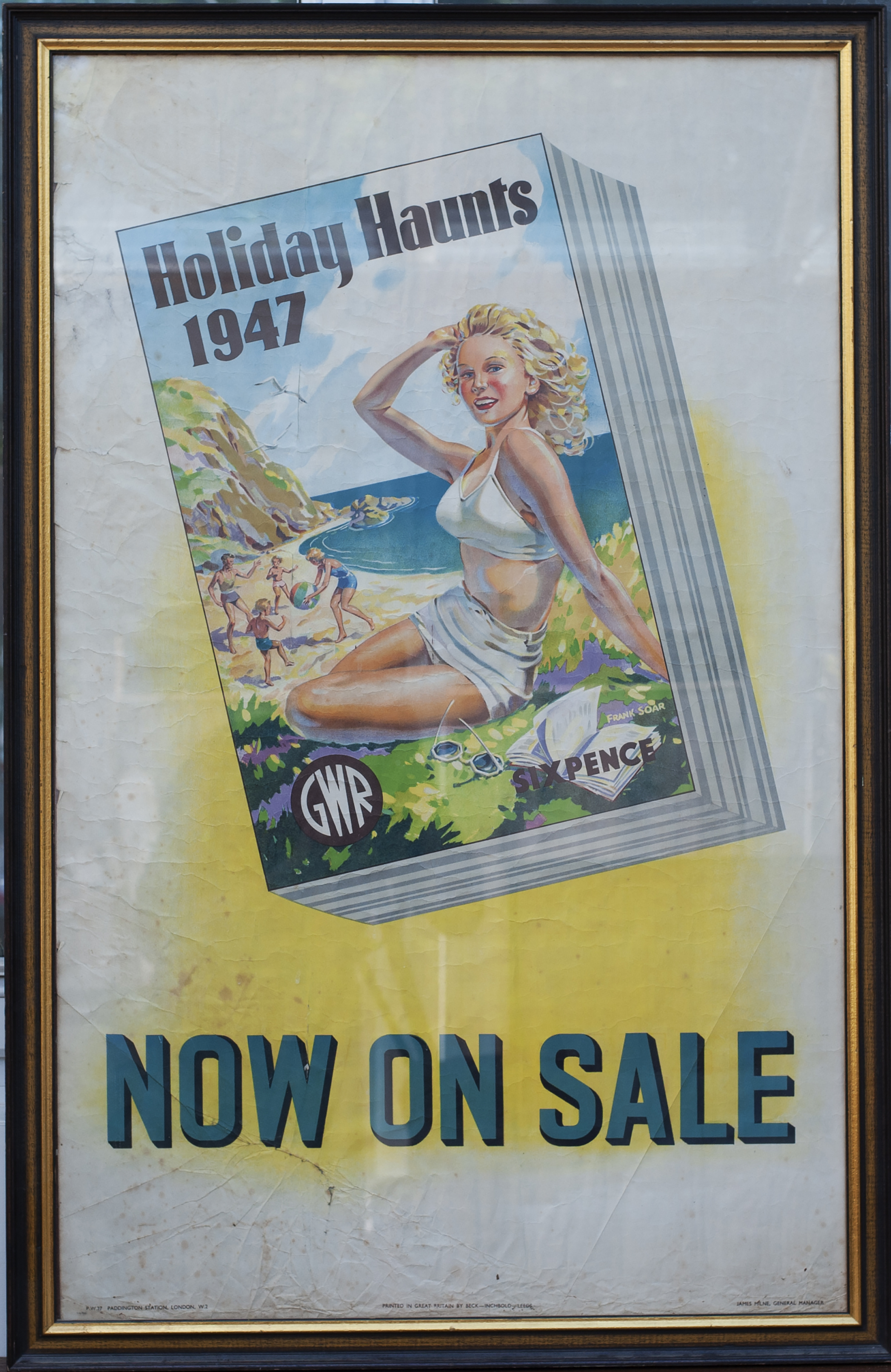 Poster GWR HOLIDAY HAUNTS 1947 NOW ON SALE by Frank Soar. Double Royal 25in x 40in. In good