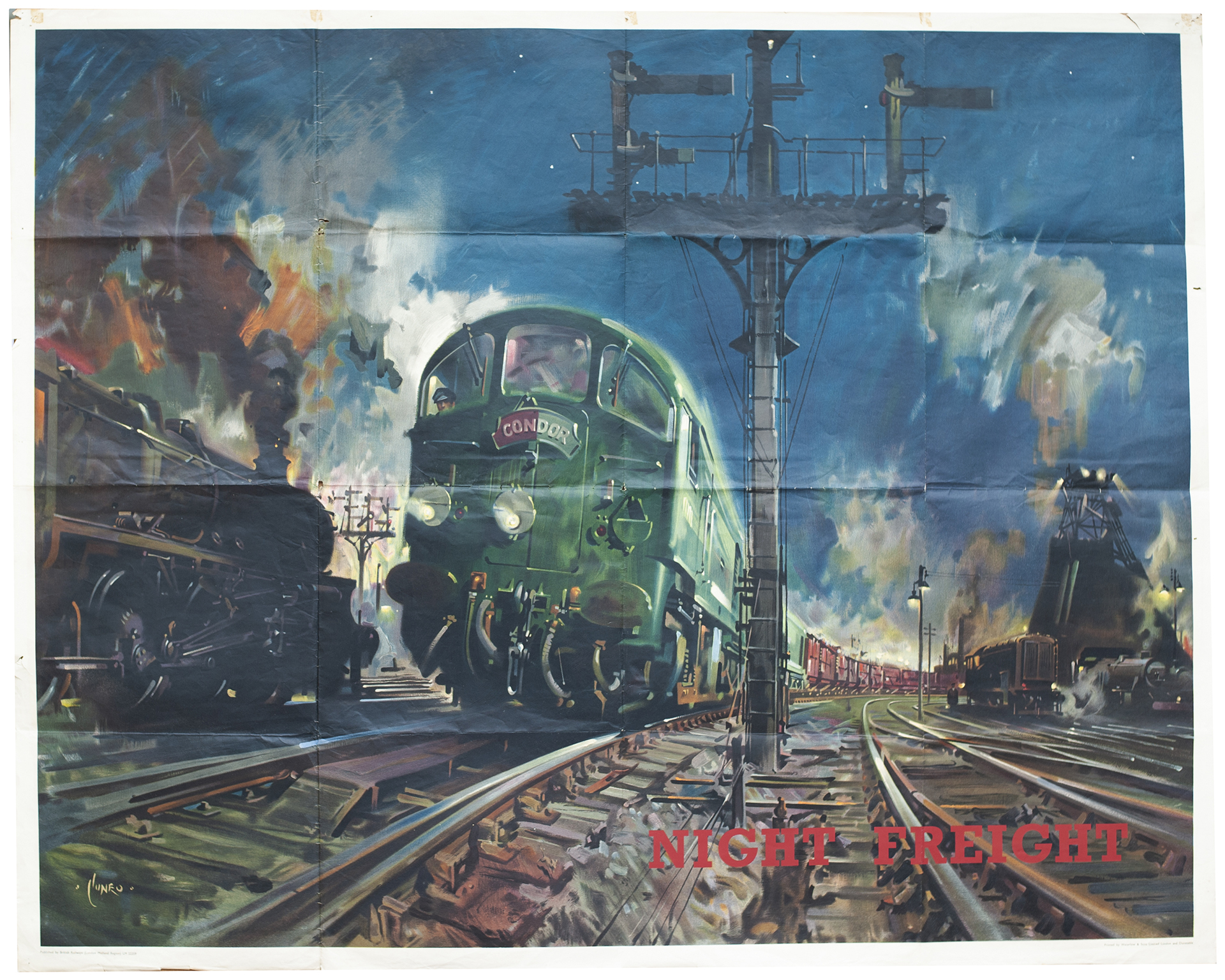 Poster BR(W) NIGHT FREIGHT by Terence Cuneo. Quad Royal 40in x 50in. In good condition with minor