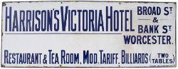 Advertising enamel sign HARRISON'S VICTORIA HOTEL BROAD ST & BANK ST WORCESTER. RESTAURANT & TEA