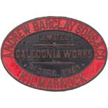 Worksplate ANDREW BARCLAY SONS & CO CALEDONIA WORKS KILMARNOCK No 2160 1943 ex 0-4-0 ST delivered