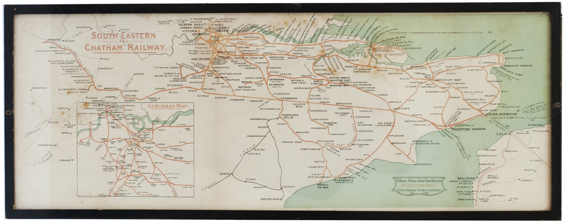 South Eastern & Chatham railway carriage panel line diagram for the whole of the system including