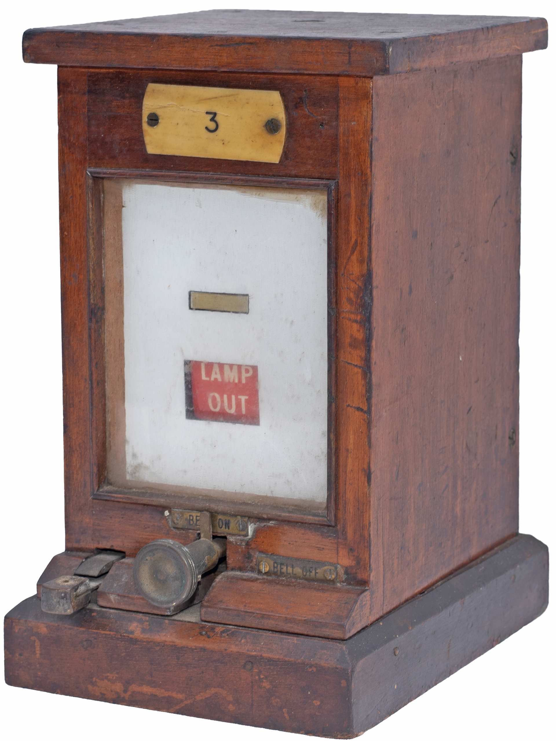 GWR mahogany cased signal Lamp In / Out repeater, ivorine plated 3. Complete and flag moves freely
