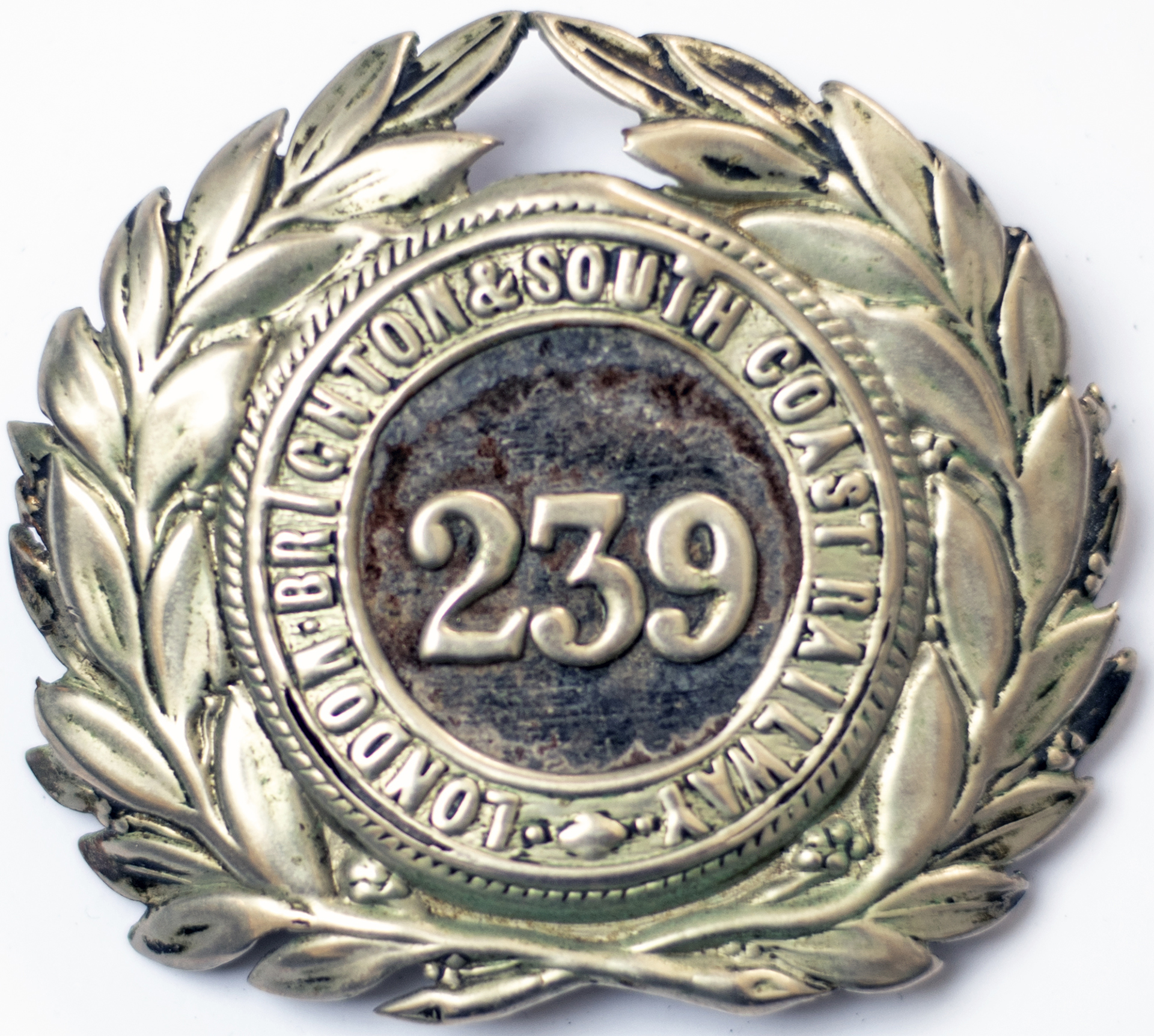 London Brighton & South Coast Railway Guards Cap Badge number 239. In very good condition