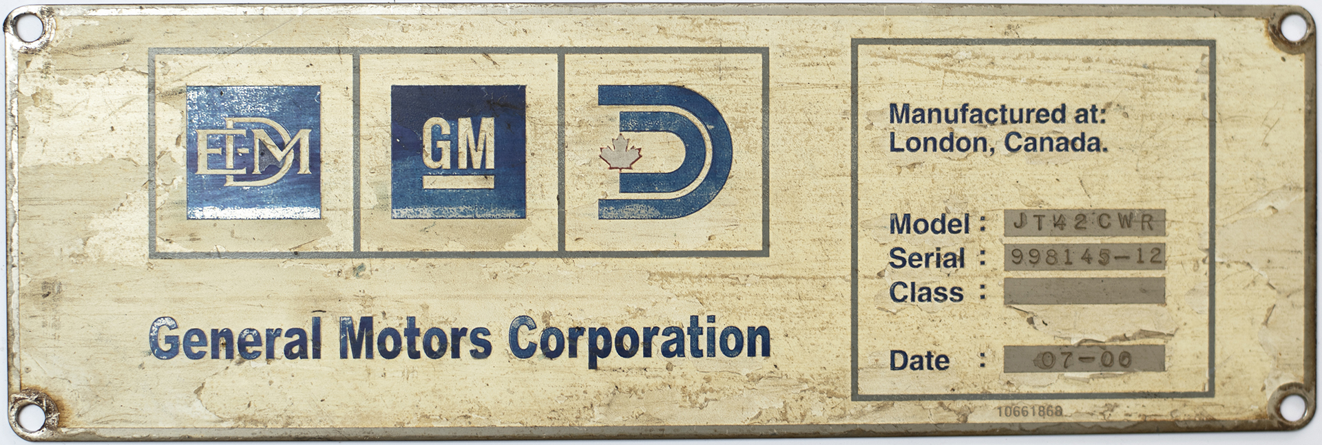 Diesel worksplate GM LOCOMOTIVE GROUP Manufactured at: London, Canada. MODEL JT42 CWR SERIAL