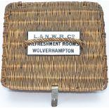 London & North Western Railway wicker Luncheon Basket with original enamel plate L.&N.W.R.CO