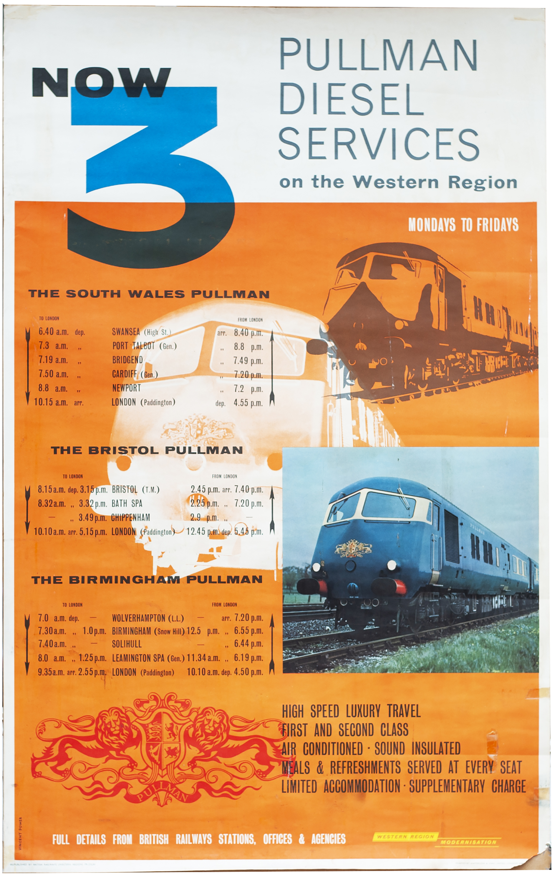 Poster BR(W) PULLMAN DIESEL SERVICES ON THE WESTERN REGION dated 1961. Double Royal 25in x 40in.
