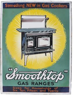 Advertising enamel sign SMOOTHTOP GAS RANGES SOMETHING NEW IN GAS COOKERS. In very good condition