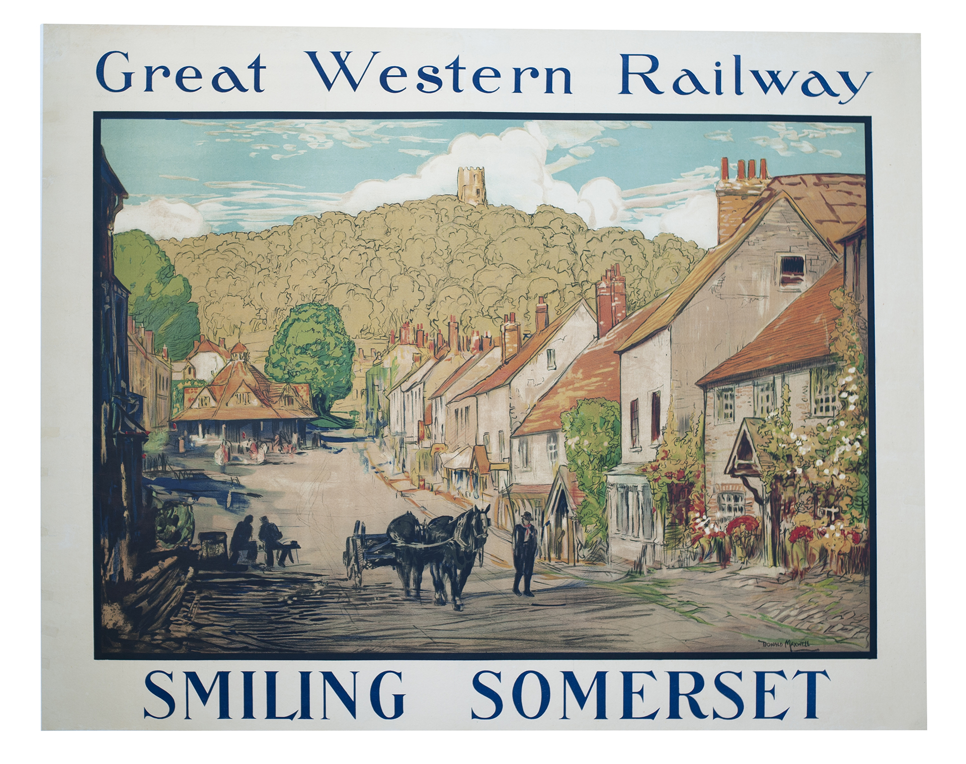 Poster GREAT WESTERN RAILWAY SMILING SOMERSET by Donald Maxwell. A rare Poster