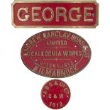 Nameplate GEORGE together with its worksplate ANDREW BARCLAY SONS & CO LIMITED CALEDONIA WORKS
