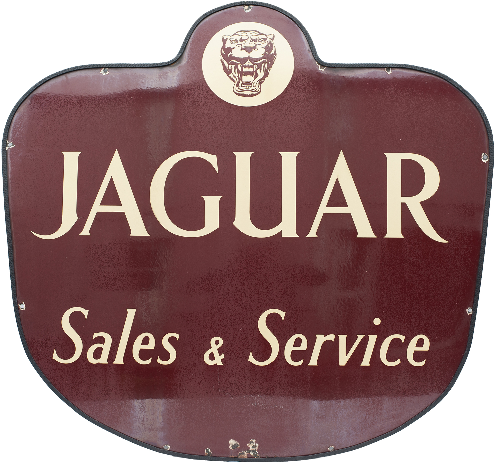 Motoring enamel car dealer sign JAGUAR SALES & SERVICE. In very good condition with slight loss to