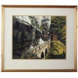 Original painting LMS BLACK 5 4804 4-6-0 double heading with a 2P 4-4-0 563 by George Heiron.
