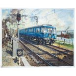 Poster BR(SC) BLUE TRAINS by Terence Cuneo. Quad Royal 50in x 40in. In very good condition with