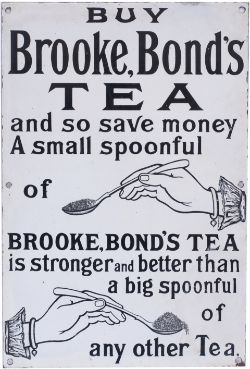 Advertising enamel sign BUY BROOKE BONDS TEA. In very good condition with some expertly executed