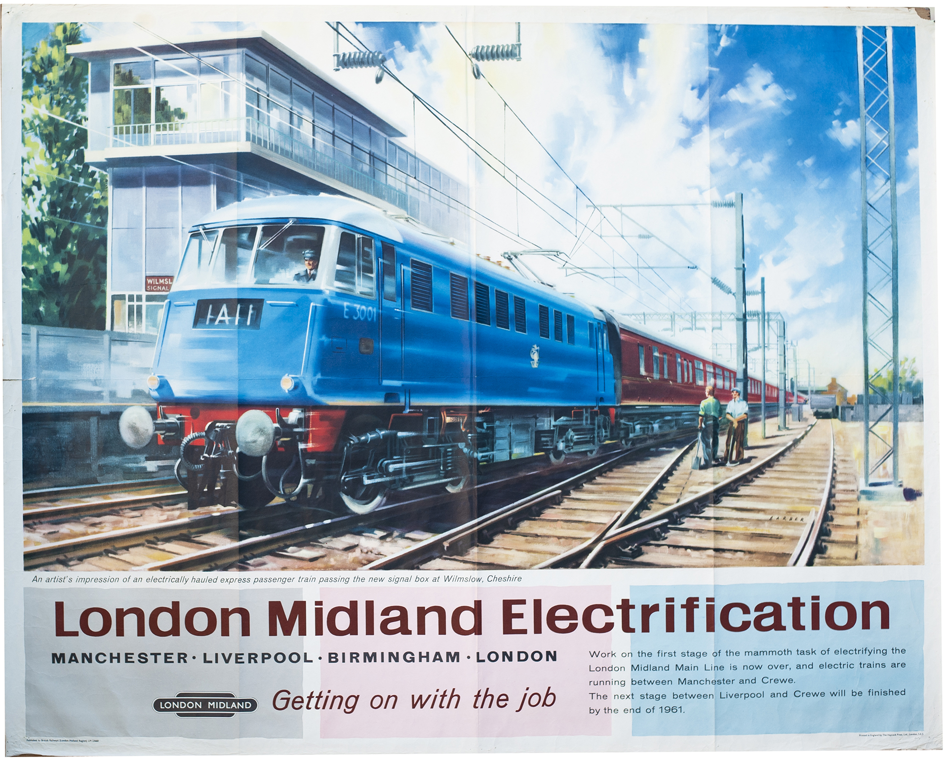 Poster BR(M) LONDON MIDLAND ELECTRIFICATION with E3001 passing Wilmslow Signal Box by Barber. Quad