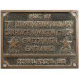 Cabplate BUILT BY THE BIRMINGHAM RAILWAY CARRIAGE & WAGON CO LTD SMETHWICK ENGLAND 1960 SERIAL No