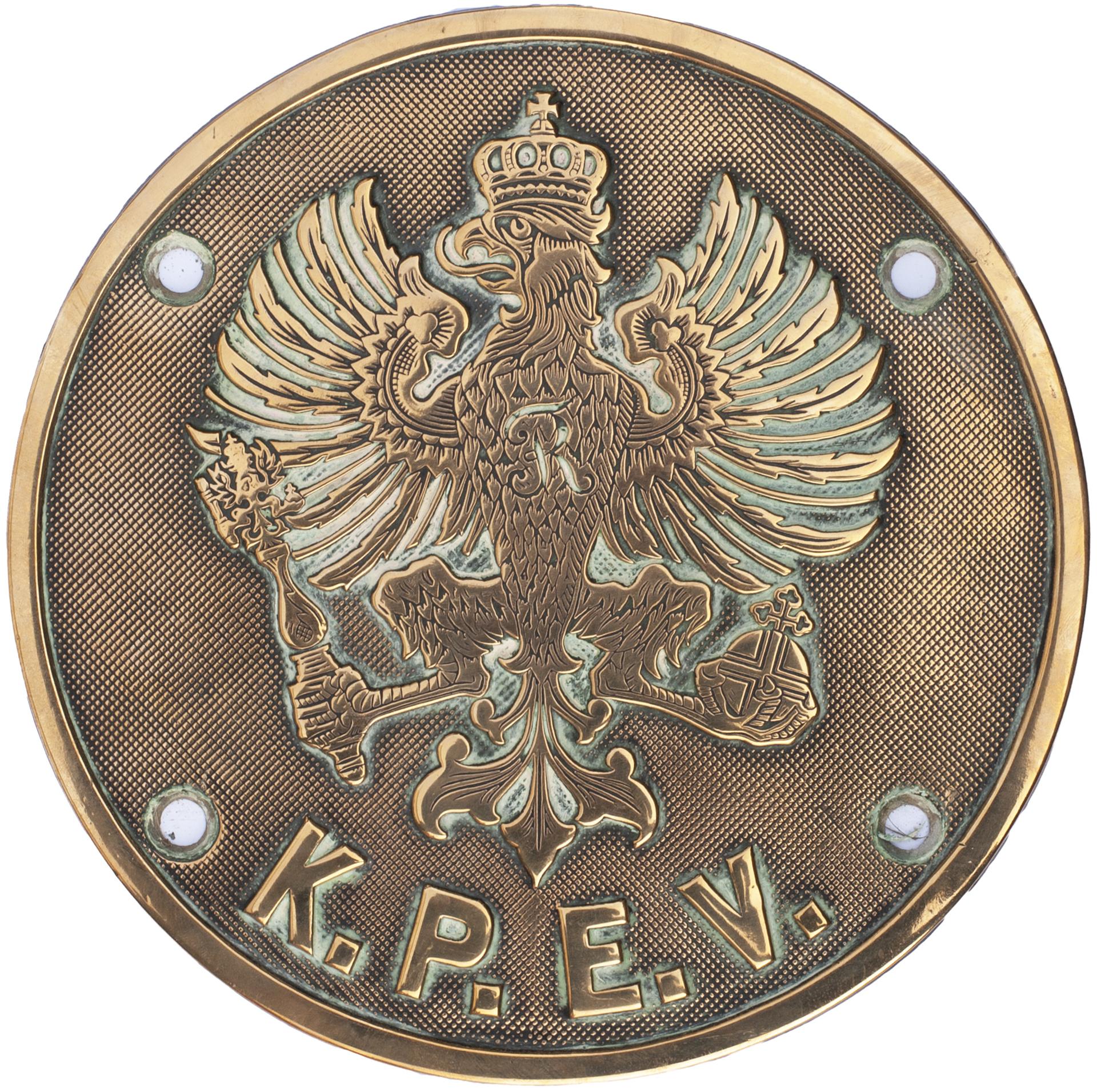 Brass Cabside plate KPEV (Koniglich Preubische Eisenbahn-Verwaltung) Prussian State Railways