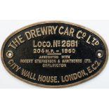 Worksplate THE DREWRY CAR CO LTD CITY WALL HOUSE LONDON EC2 ASSOCIATED WITH ROBERT STEPHENSON &