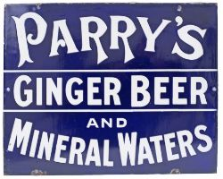 Advertising enamel sign PARRY'S GINGER BEER AND MINERAL WATERS. In excellent condition with minor