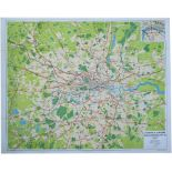 Poster BR LONDON & SUBURBS MAIN LINE RAILWAYS issued in 1956. Quad Royal 50in x 40in. In very good