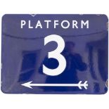 BR(E) FF enamel station sign PLATFORM 3 with left facing arrow. In very good condition with minor