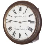 North London Railway 12in dial mahogany cased railway clock with supplied by Thwaites & Reed of