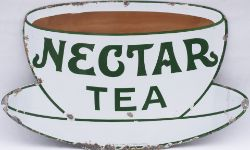 Advertising enamel sign NECTAR TEA. In very good condition with minor edge chipping. Measures 12.5in