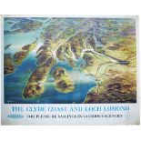 Poster BR(SC) THE CLYDE COAST AND LOCH LOMOND by W. Nicolson. Quad Royal 50in x 40in. In very good