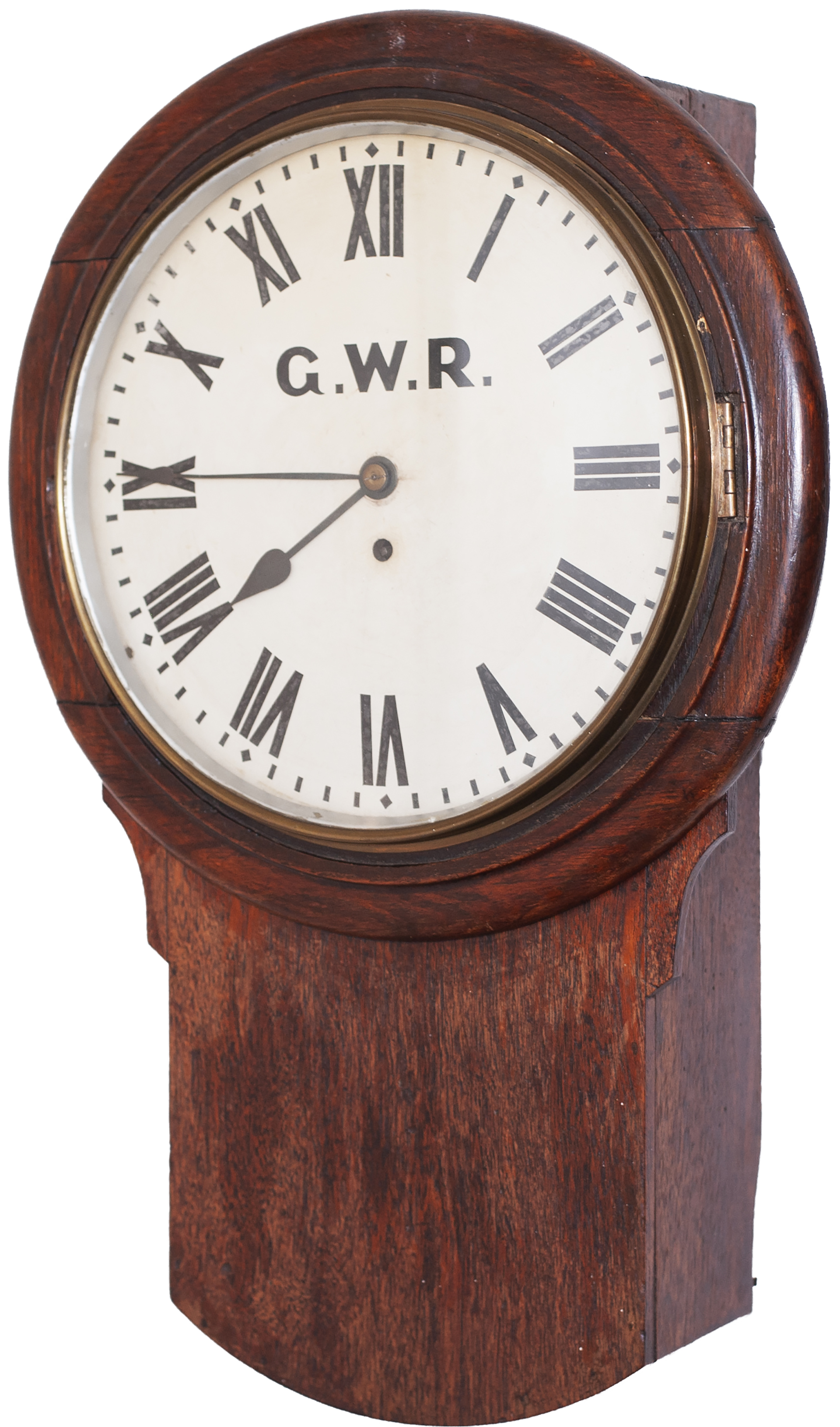 Great Western Railway 12 inch oak cased drop dial trunk fusee railway clock with a wire driven