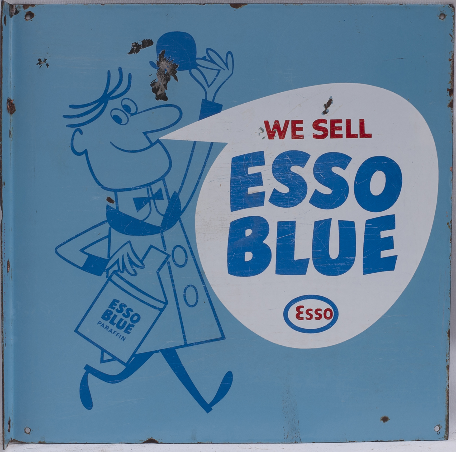 Advertising enamel sign WE SELL ESSO BLUE PARAFFIN. Double sided with wall mounting flange, both - Image 2 of 2