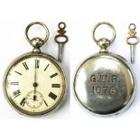 Great Western Railway pre grouping nickel cased pocket watch with a English lever movement fully