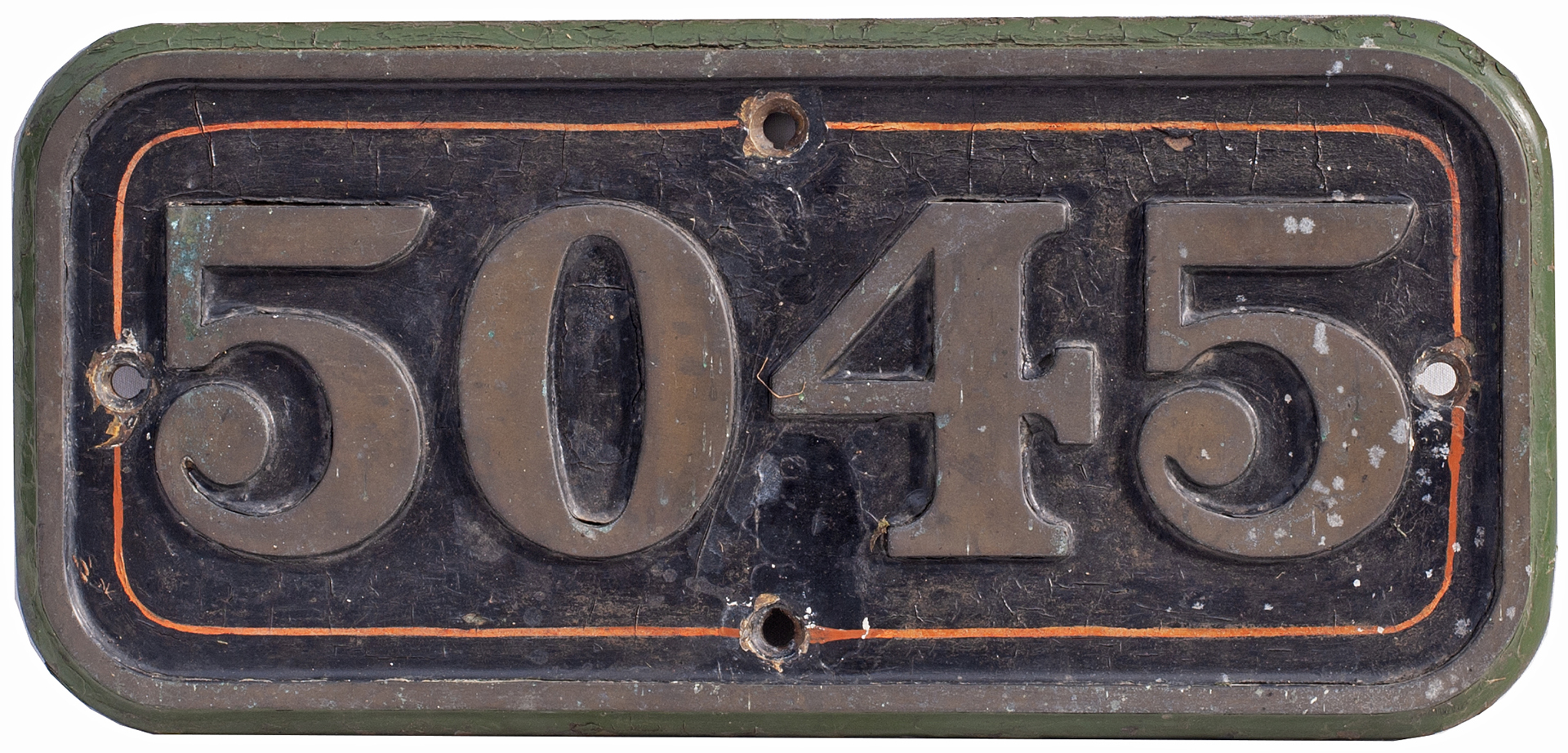 GWR brass cabside numberplate 5045 ex Collett Castle Class 4-6-0 built at Swindon in 1936 and