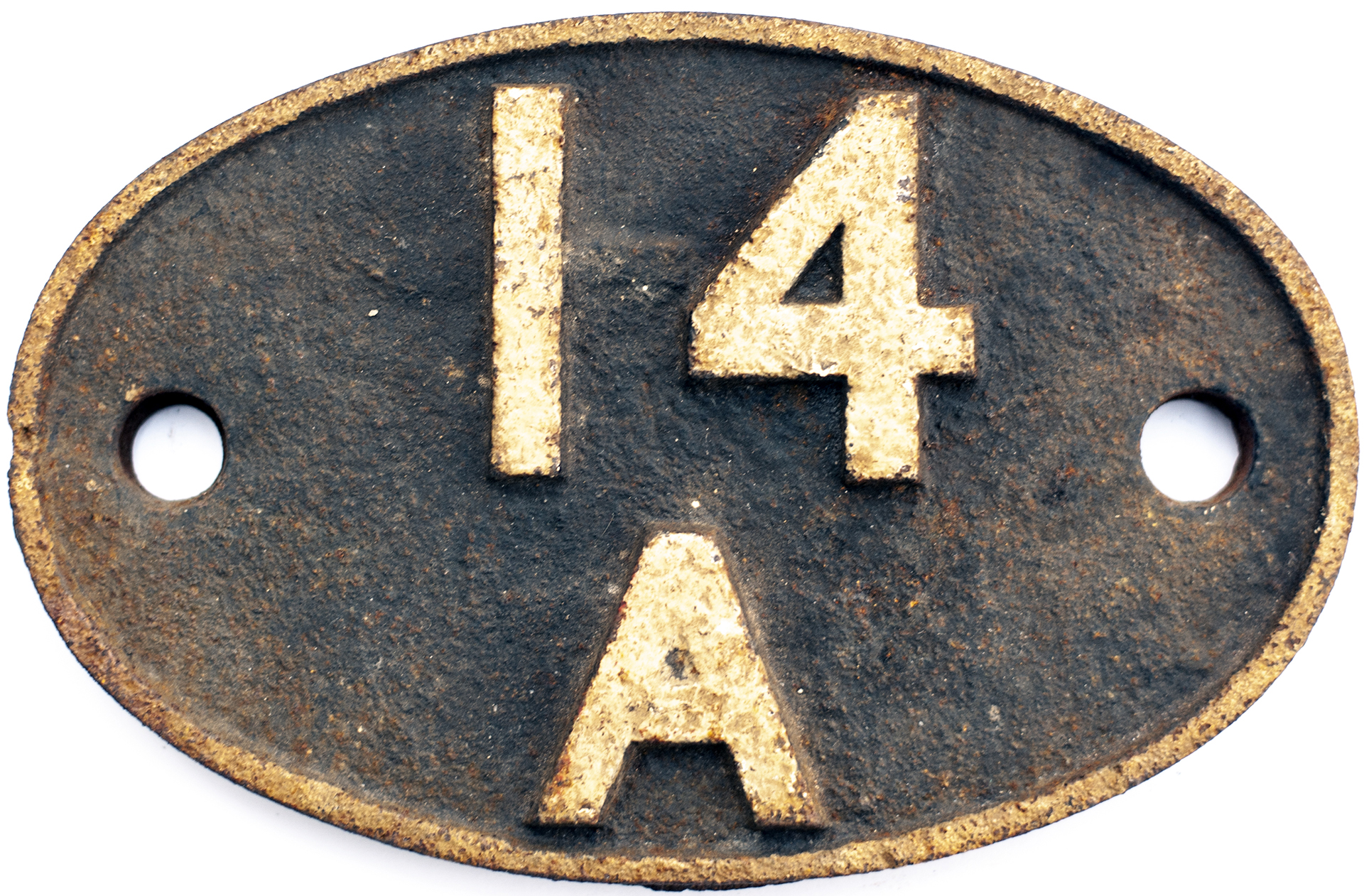 Shedplate 14A Cricklewood 1950 - 1963. In as removed condition with clear Derby casting bars.