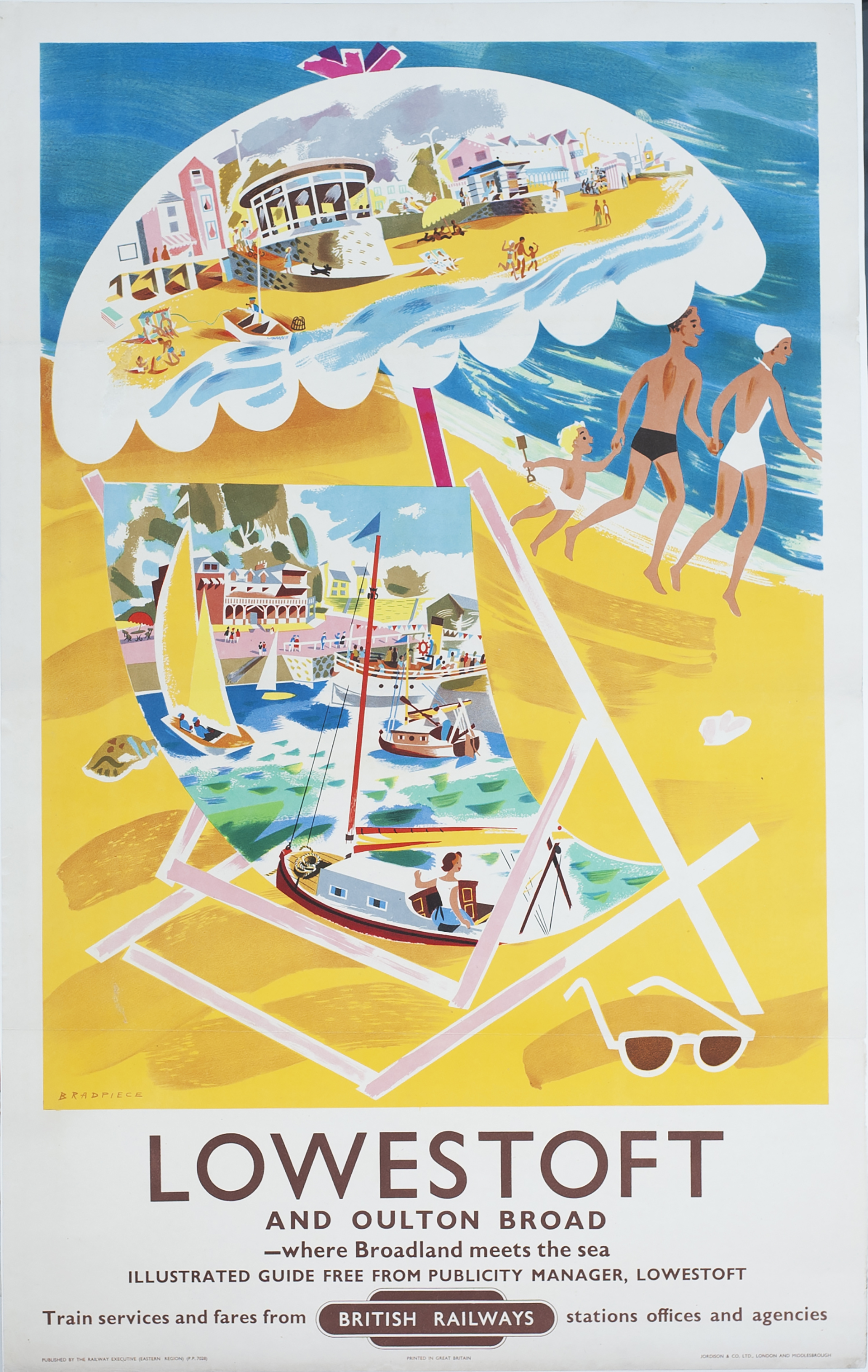 Poster BR(E) LOWESTOFT AND OULTON BROAD by Bradpiece. Double Royal 25in x 40in. In excellent