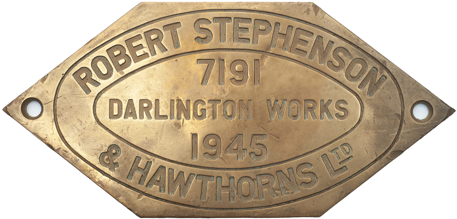 Worksplate ROBERT STEPHENSON & HAWTHORNS LTD DARLINGTON WORKS 7191 1945 ex South African Railways