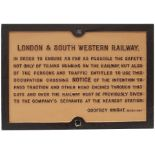 London & South Western Railway cast iron trespass sign LONDON & SOUTH WESTERN RAILWAY Re