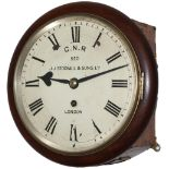 Great Northern Railway 8 inch mahogany cased fusee railway clock with a cast brass bezel and a