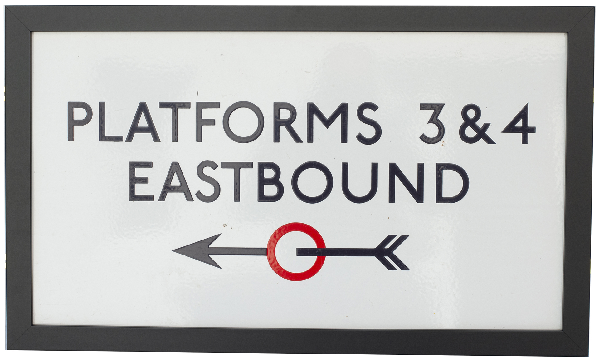 London Transport Underground enamel sign PLATFORMS 3 & 4 EASTBOUND with left facing arrow. In