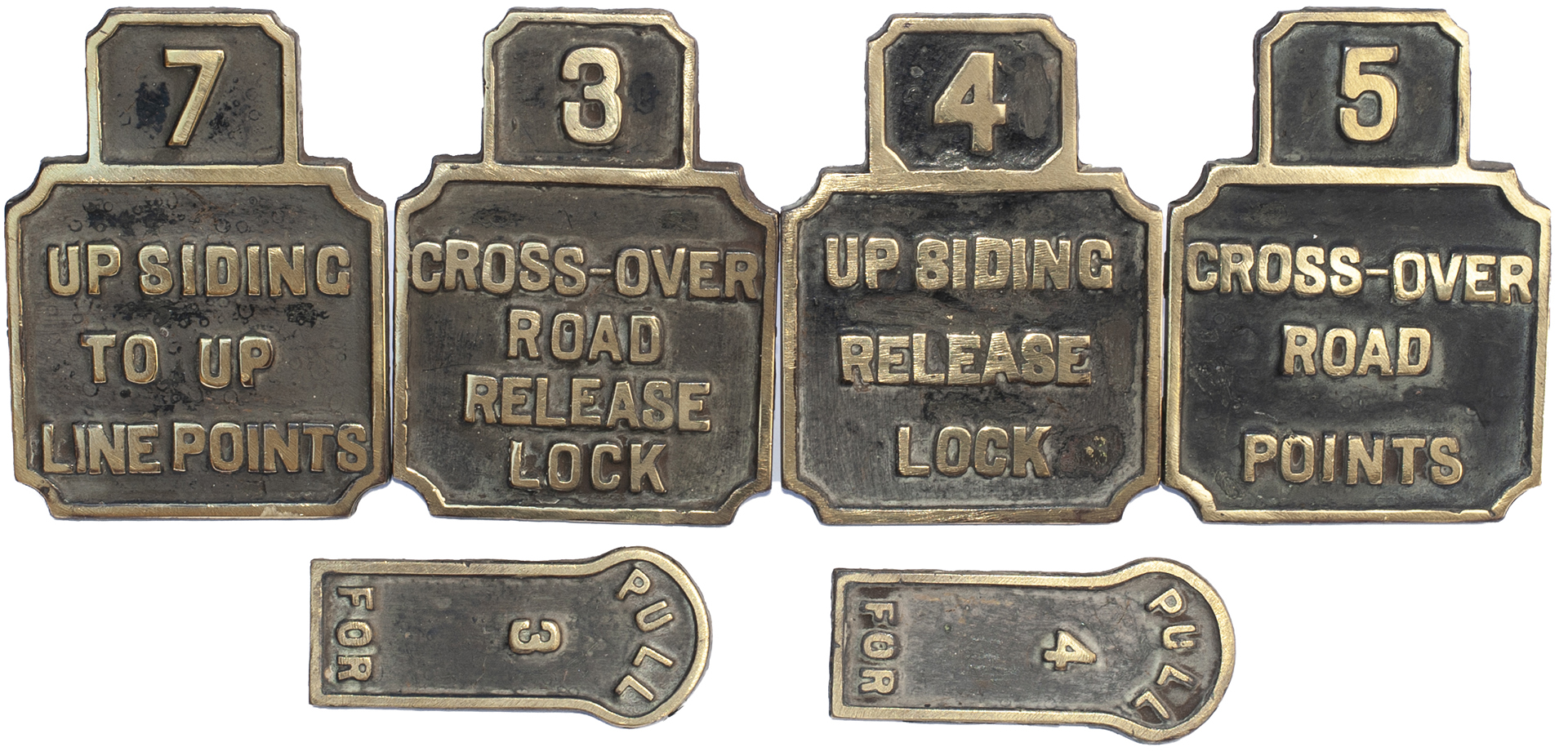 Six Stevens LSWR brass lever plates ex St Denys signal box; CROSS-OVER ROAD POINTS, CROSS OVER