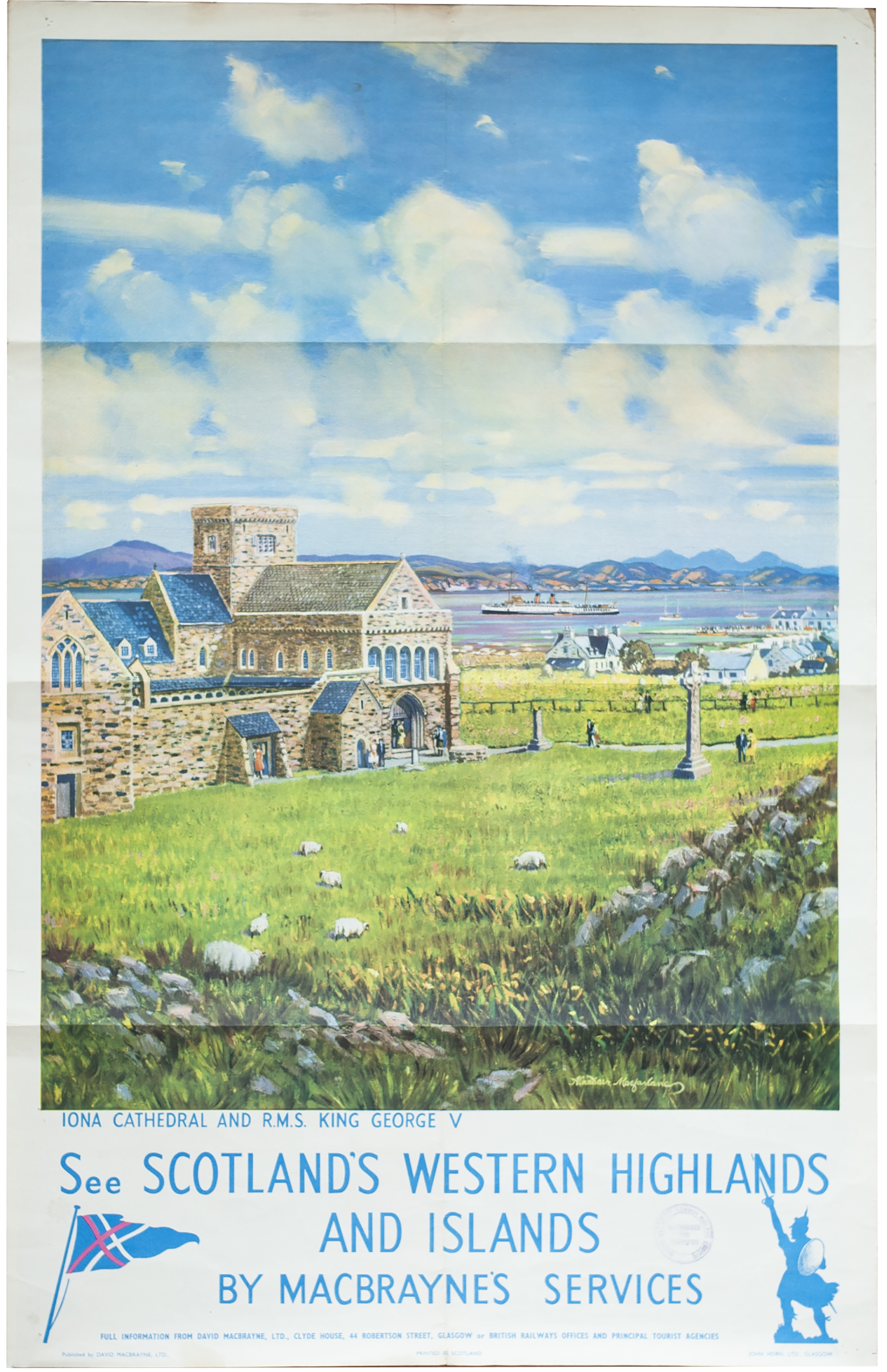 Poster MACBRAYNES SEE SCOTLANDS WESTERN HIGHLANDS AND ISLANDS BY MACBRAYNES SERVICES by Alasdair