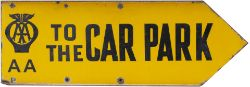 Advertising motoring enamel sign AA TO THE CAR PARK. Double sided, both sides in very good