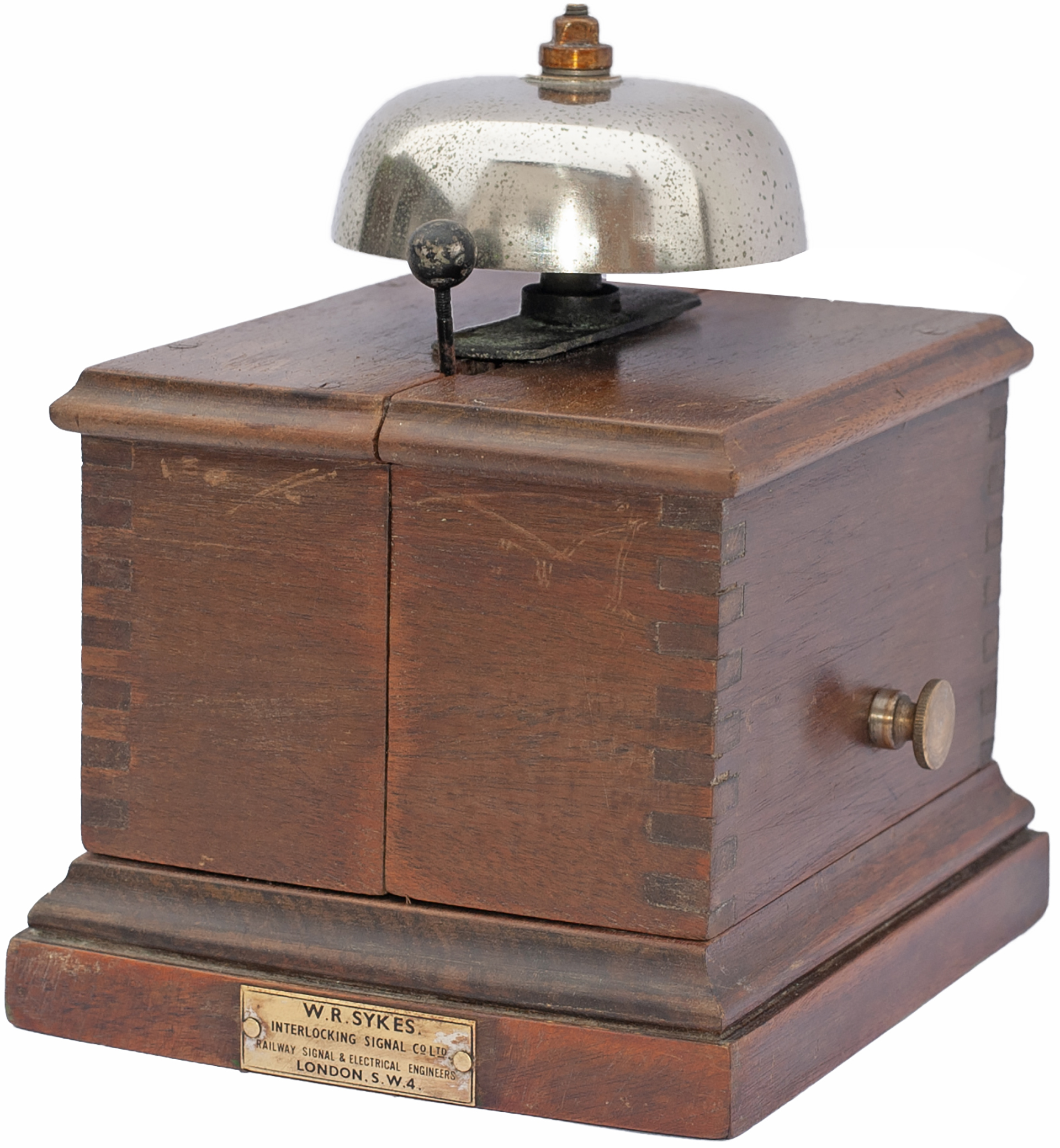 LB&SCR mahogany split cased Block Bell with W.R.SYKES brass makers plate. In very good condition