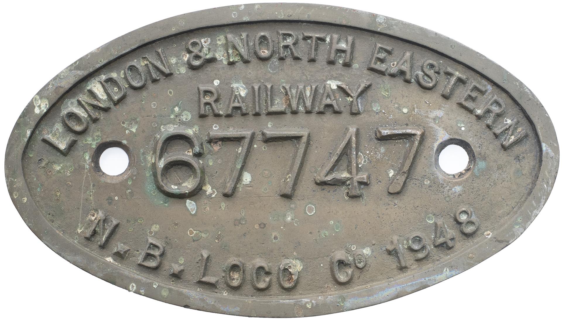 Worksplate 9x5 LONDON & NORTH EASTERN RAILWAY N.B.LOCO CO 1948 67747 ex Thompson L1 2-6-4T.