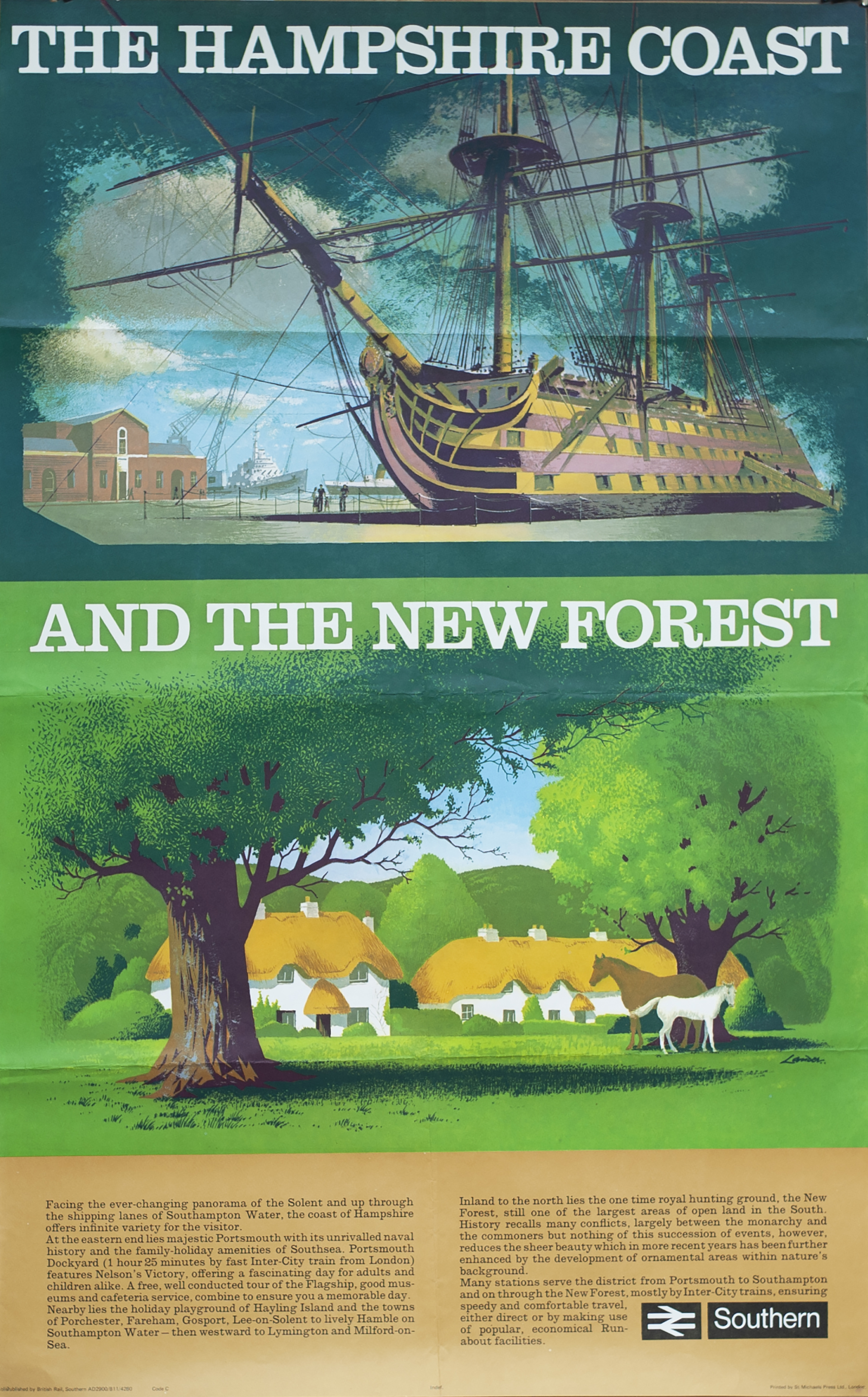 Poster BR(S) THE HAMPSHIRE COAST AND THE NEW FOREST by Reginald Lander. Double Royal measures 25in x