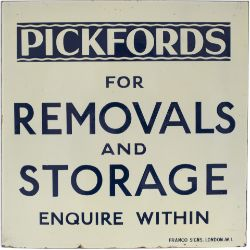 Advertising enamel sign PICKFORDS FOR REMOVALS AND STORAGE ENQUIRE WITHIN. In excellent condition