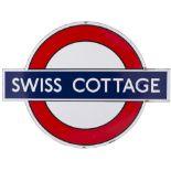 London Transport Underground enamel station target/bullseye sign SWISS COTTAGE. One of the pre-war
