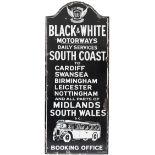 Motoring bus enamel sign BLACK & WHITE MOTORWAYS BOOKING OFFICE. DAILY SERVICES SOUTH COAST TO