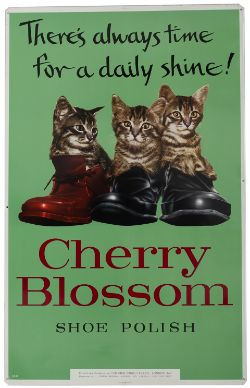Advertising sign CHERRY BLOSSOM SHOE POLISH THERES ALWAYS TIME FOR A DAILY SHINE, with the three