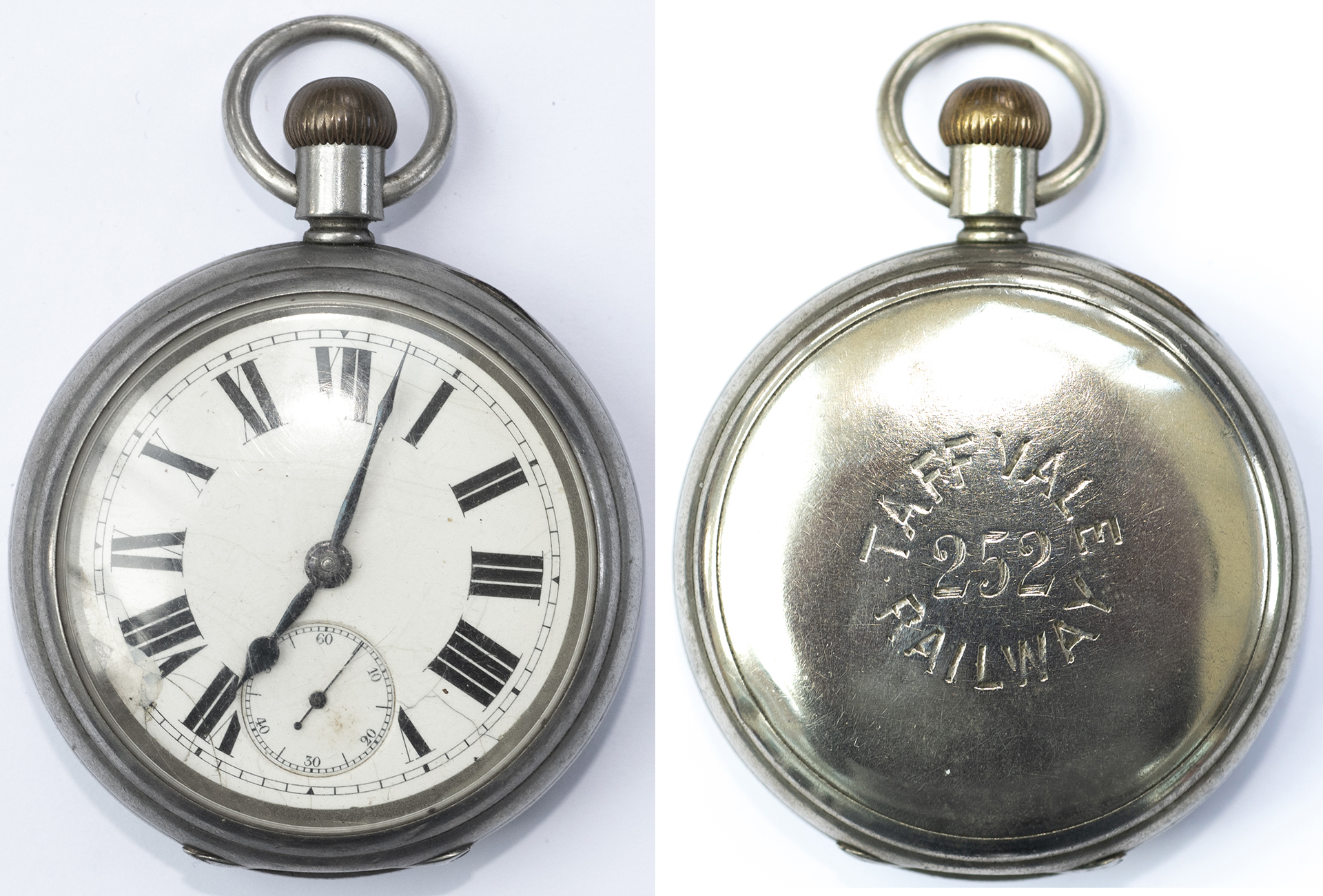 Taff Vale Railway nickel cased pocket watch with a American Waltham Watch Co movement number