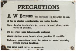World War Two enamel sign Re PRECAUTIONS for storing AW BOMBS. Albright and Wilson Bombs were used