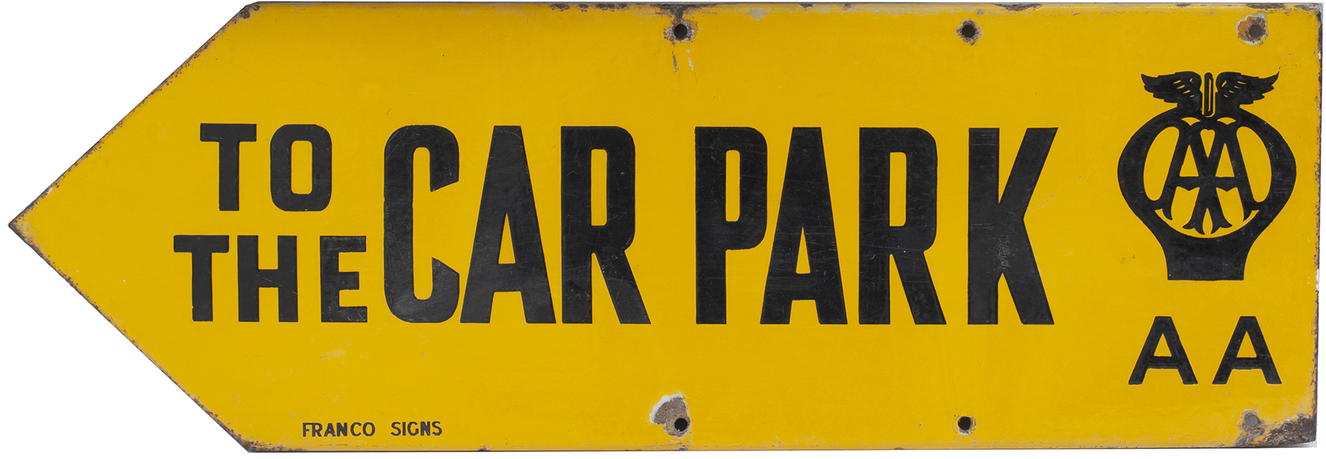 Advertising motoring enamel sign AA TO THE CAR PARK. Double sided, both sides in very good - Image 2 of 2
